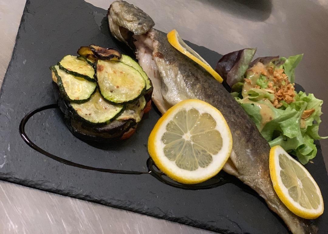 Truite bio et son gratin Hôtel-Restaurant Le Bellevue